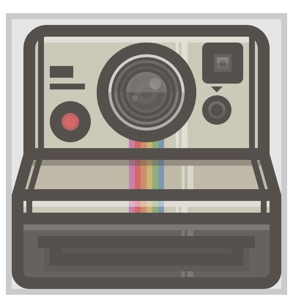 adding the rainbow to the polaroid camera icon