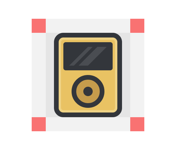 adding the diagonal highlights to the ipod icon