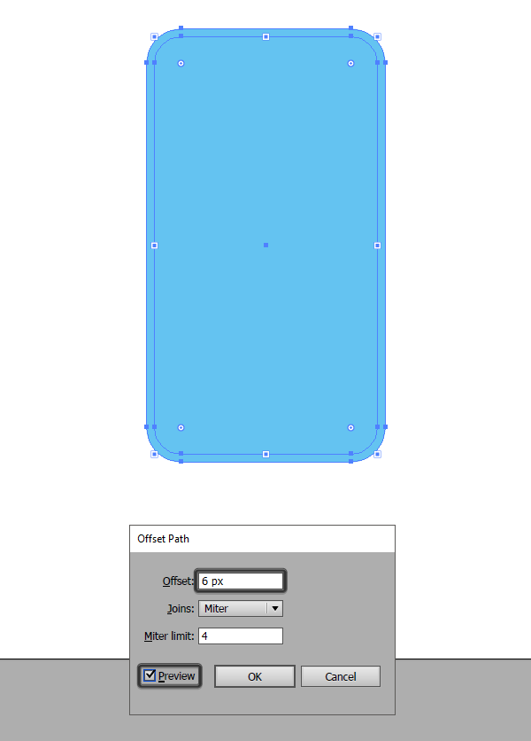 adding the outline to the phone using offset path