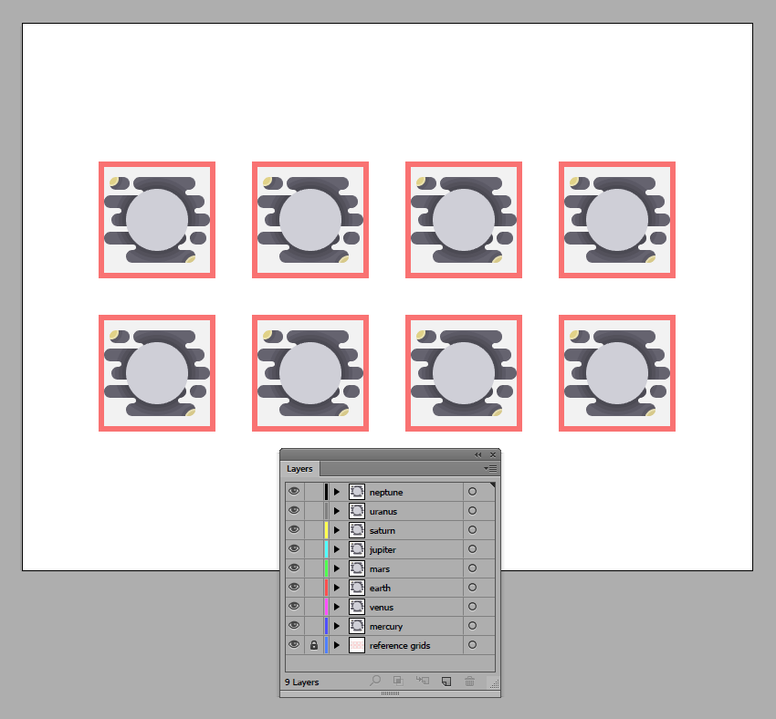 creating the rest of the copies using the default blank icon