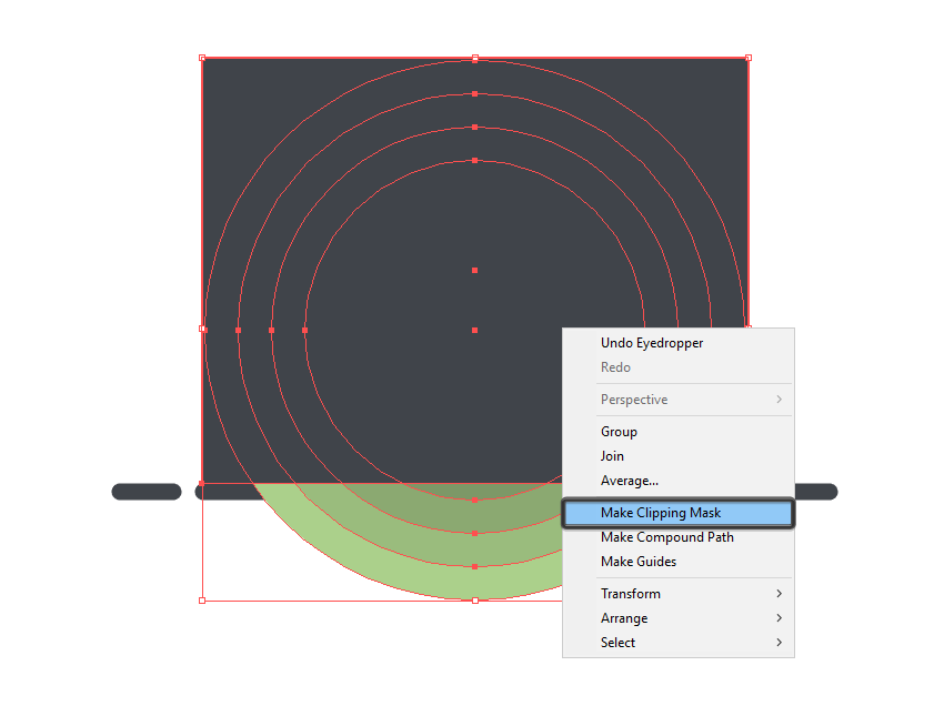 using a clipping mask to hide the lower section of the circles