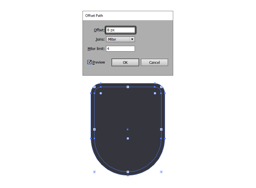 creating the outline for the badges main shape using the offset path method