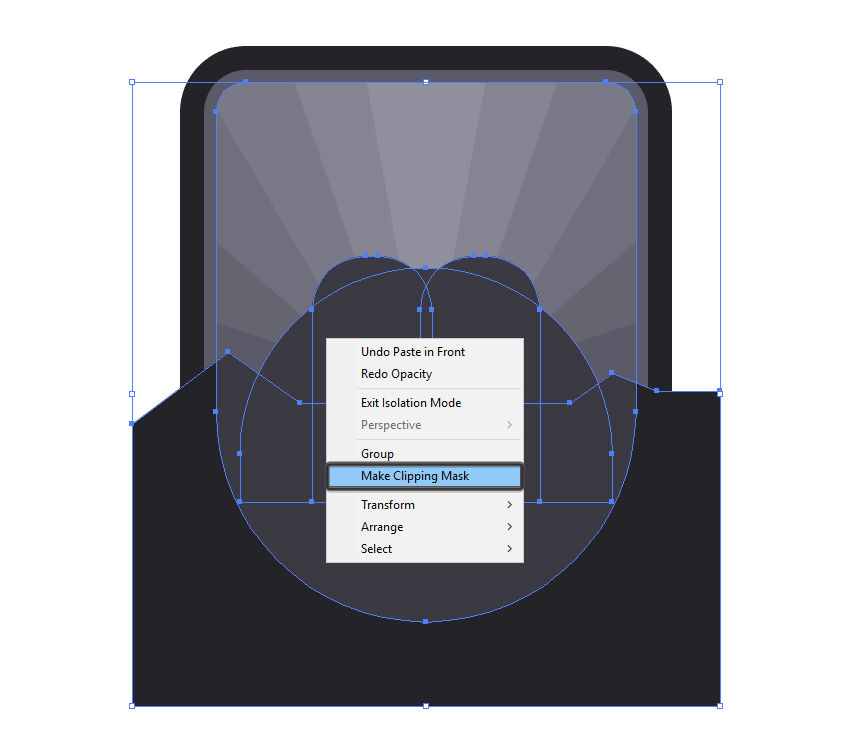 using a clipping mask to mask the inner badge shadow