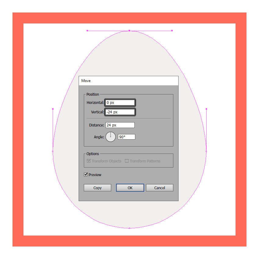 adjusting the main shape of the egg icon