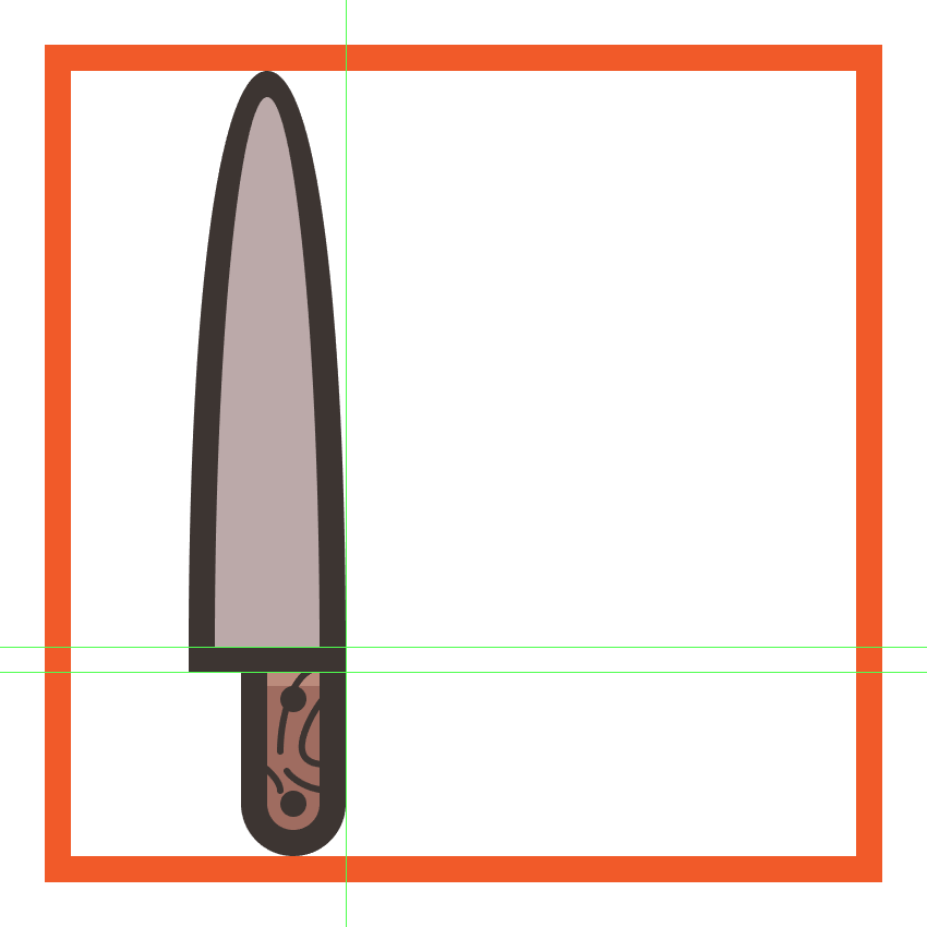 creating and positioning the main shapes for the kitchen knifes blade