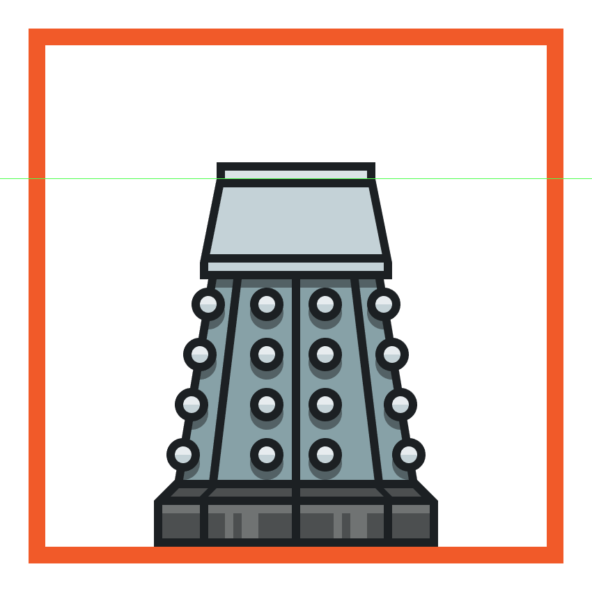 adding the two horizontal divider lines to the upper body of the dalek