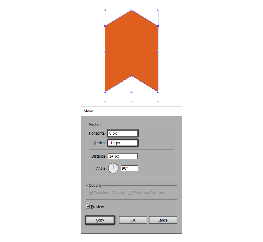 creating the repeating elements top outline using the move tool