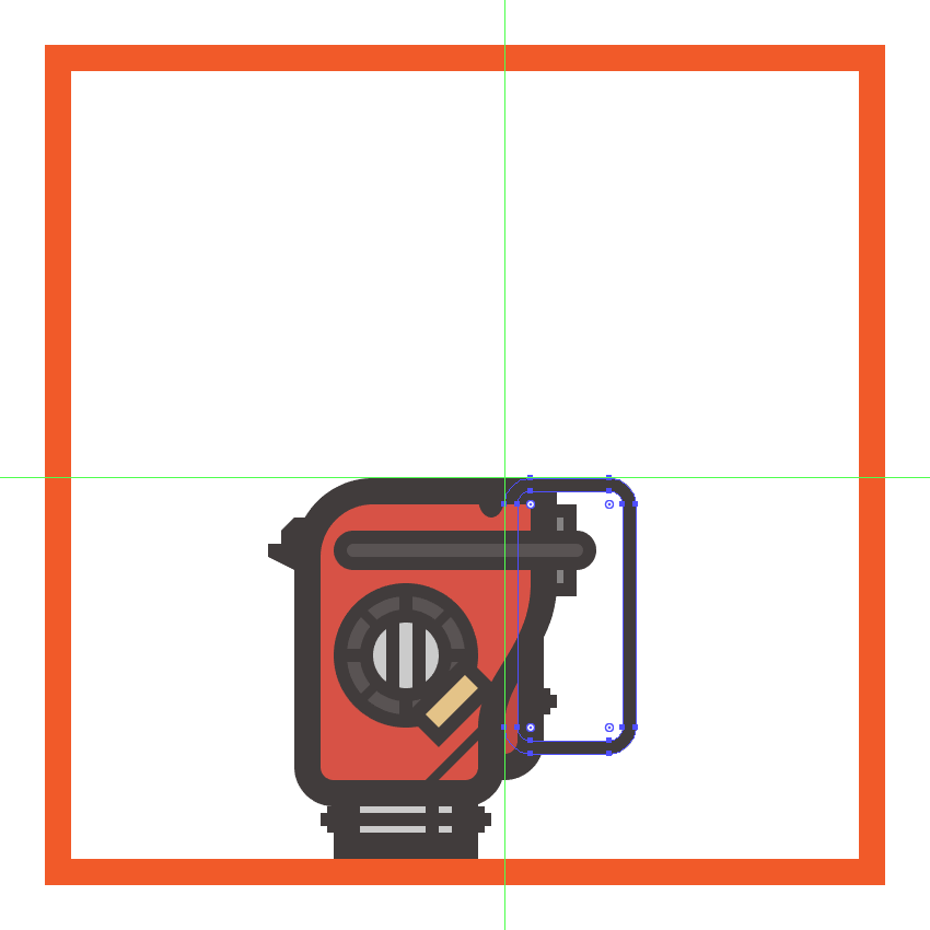 creating and positioning the main shapes for the chainsaws top handle