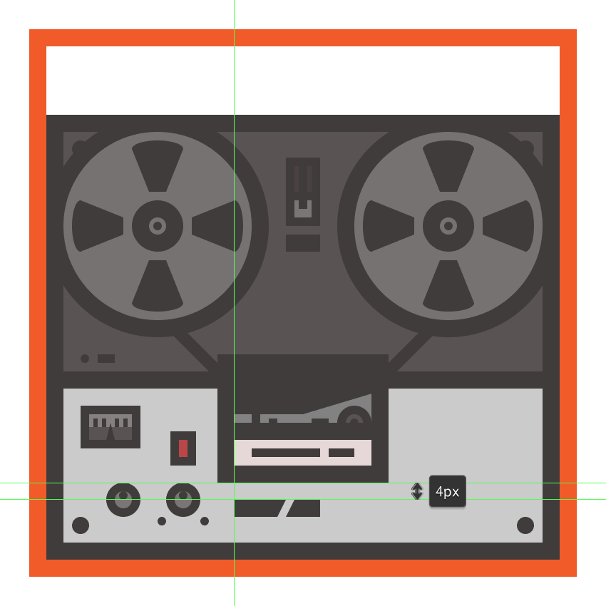 creating and positioning the second dummy text onto the tape recorders body