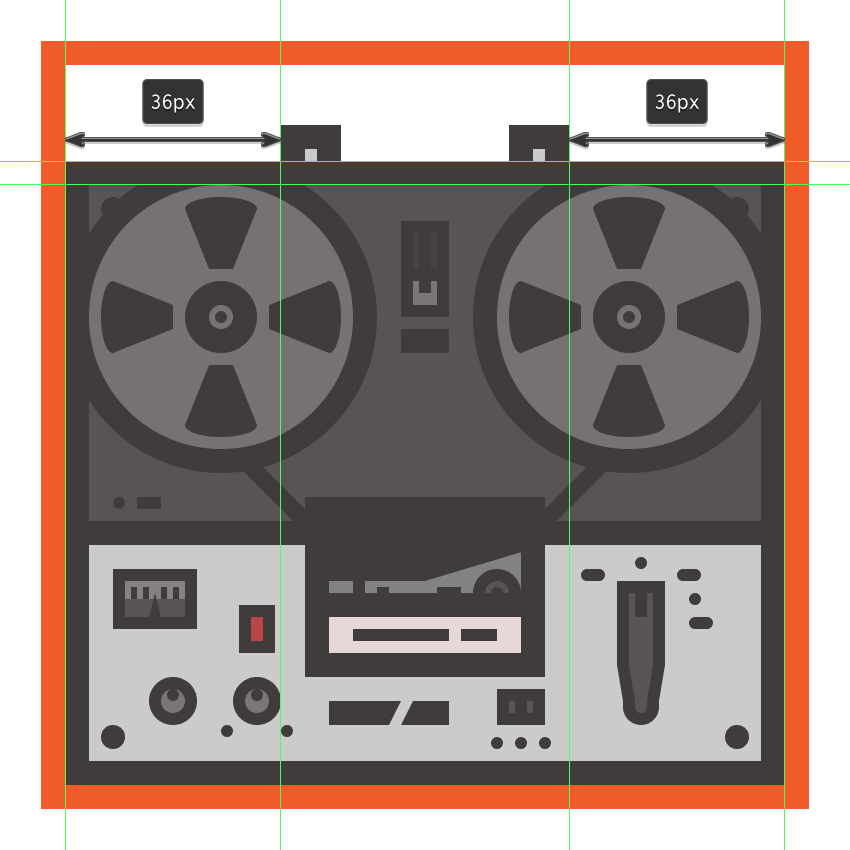 creating and positioning the lower right section of the tape recorders handle