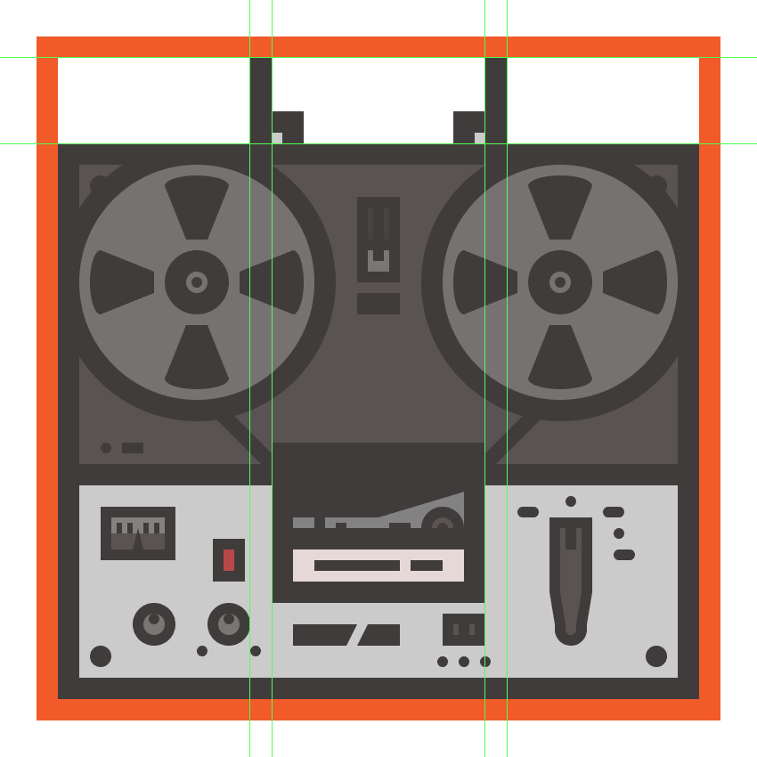 creating and positioning the side sections of the tape recorders handle