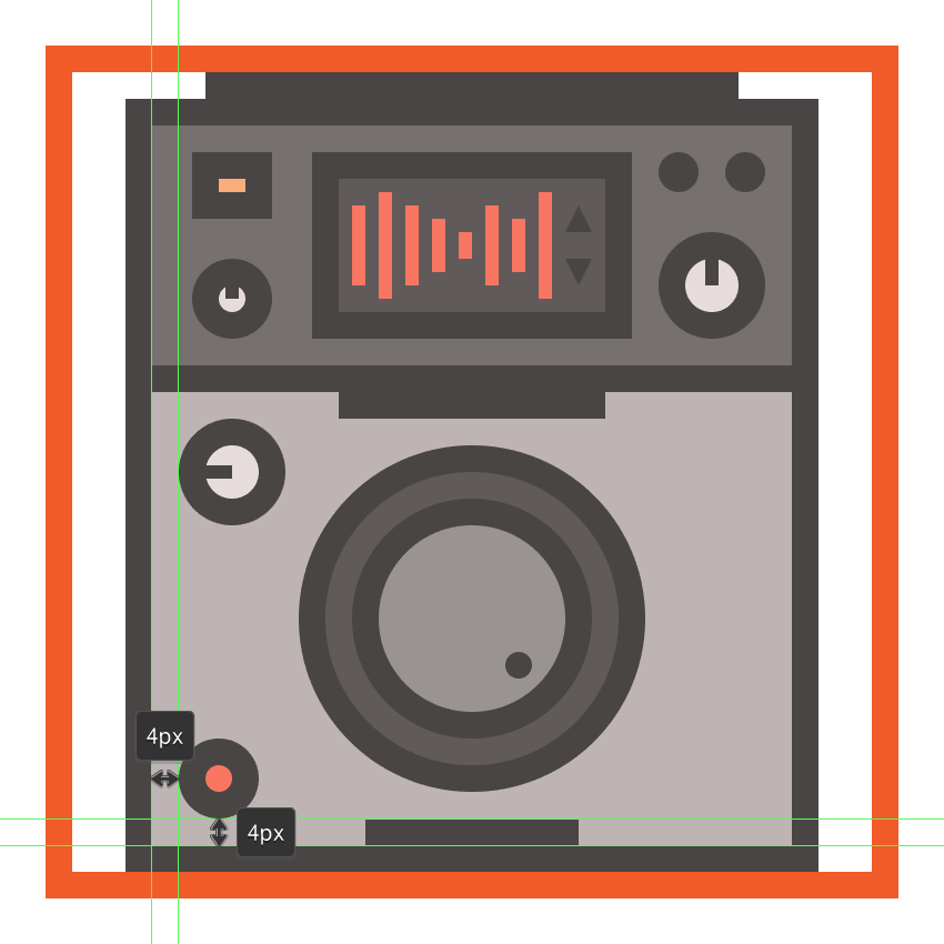 creating and positioning the main shapes for the cdjs bottom-left button