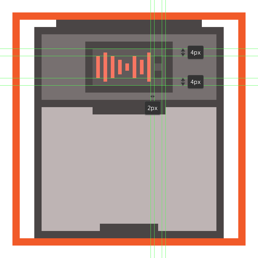 creating and positioning the main shapes for the cdjs digital up and down buttons