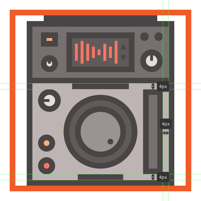 creating and positioning the main shapes for the cdjs fader