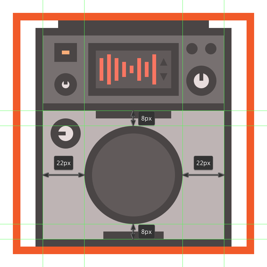 creating and positioning the main shapes for the cdjs scratch jog wheel