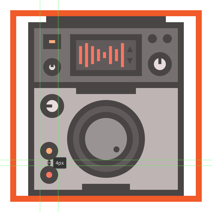 creating and positioning the main shapes for the cdjs second bottom-left button