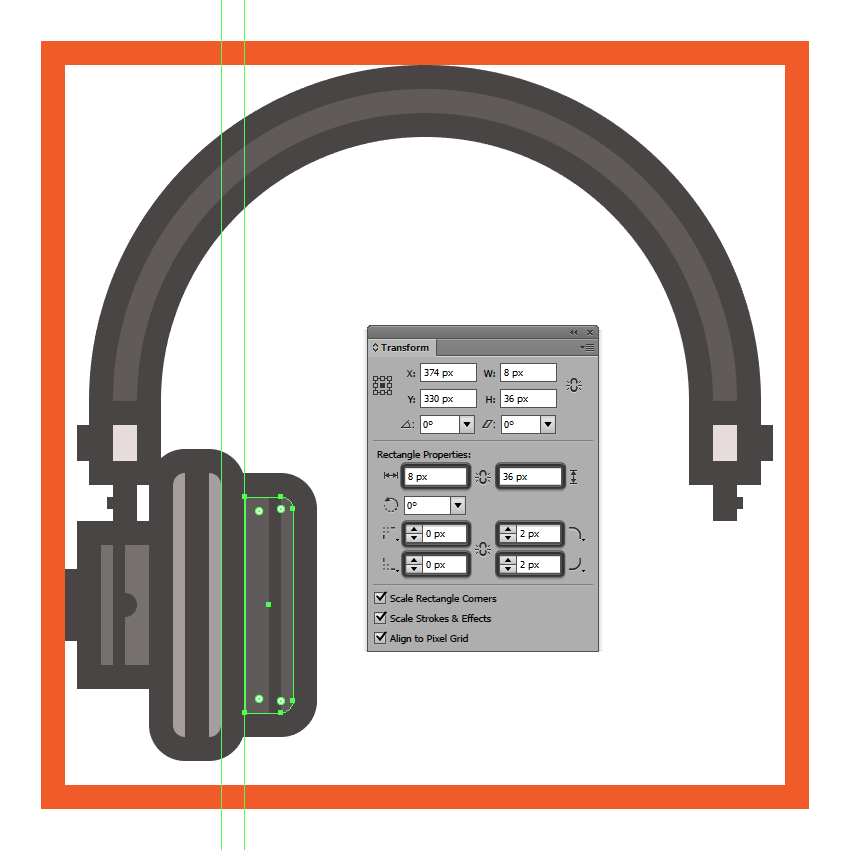 creating and positioning the main shapes for the headphones left ear pad