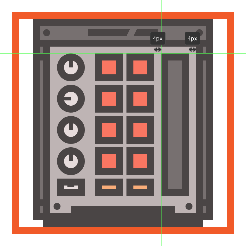 creating and positioning the main shapes for the mpcs modulation slider