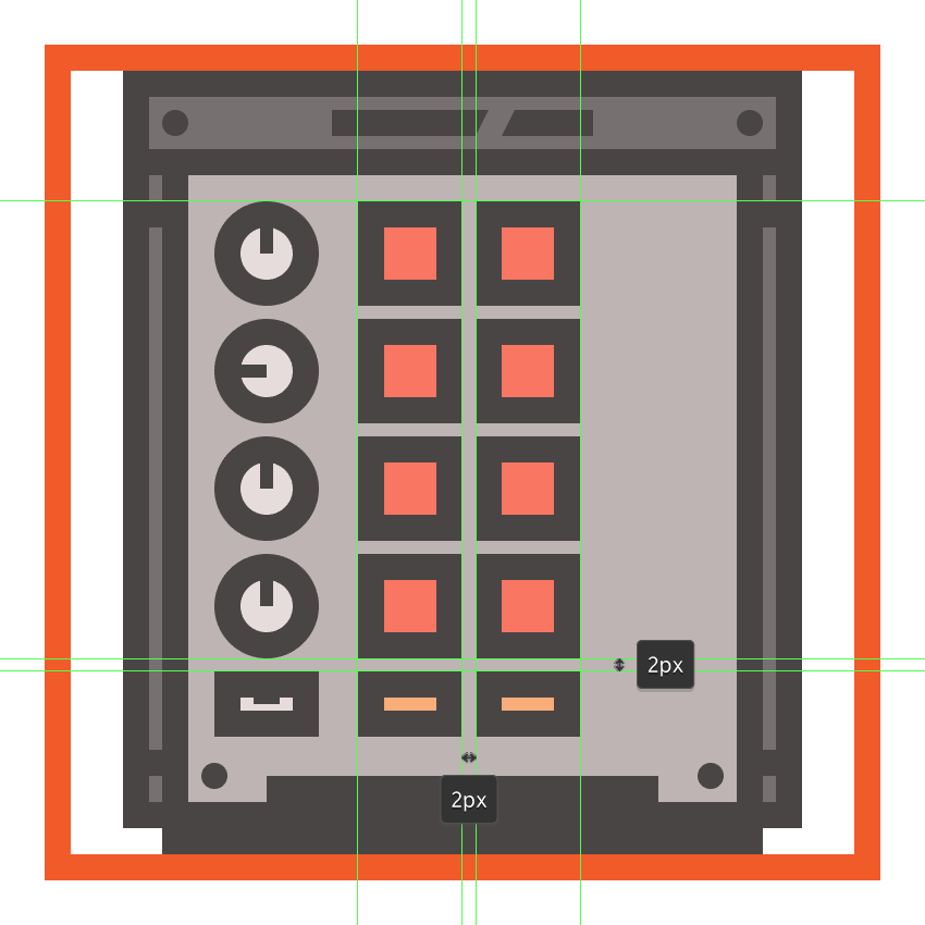 creating and positioning the two orange buttons onto the mpcs body