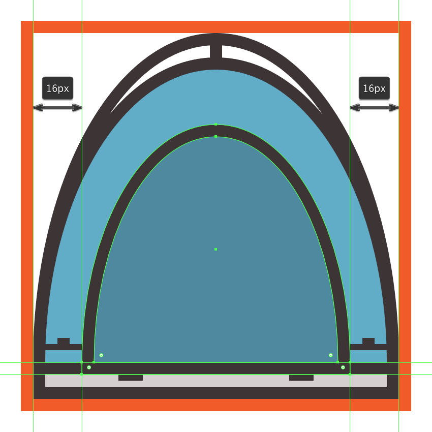 creating and positioning the main shapes for the tents door