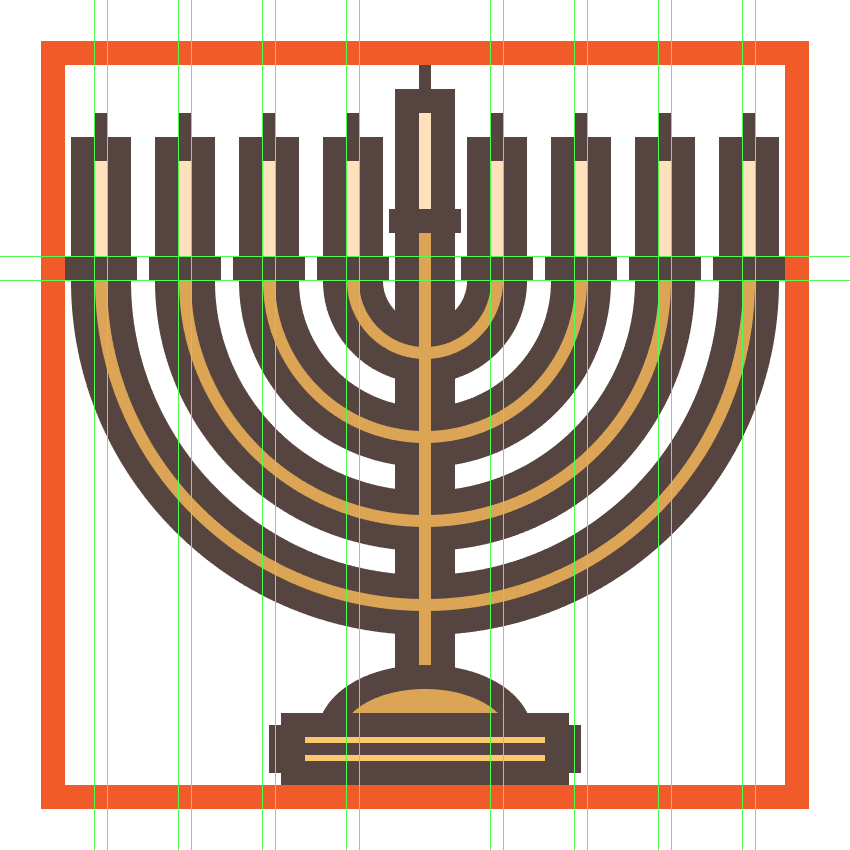 adding the remaining candles to the menorahs arms