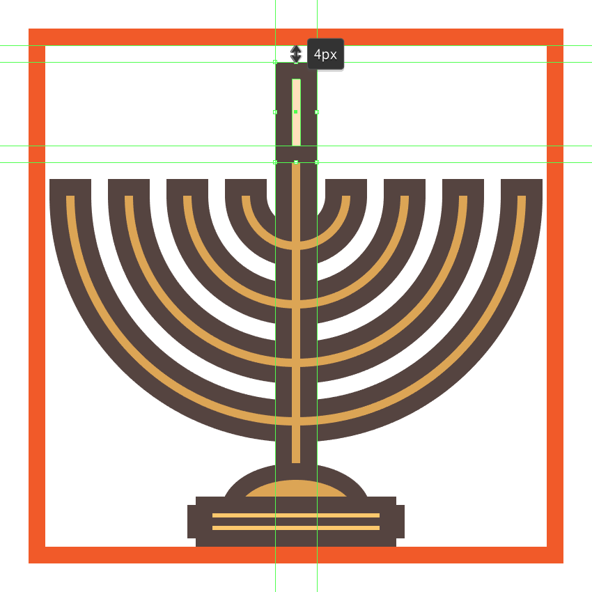creating and positioning the main shapes for the menorahs center candle