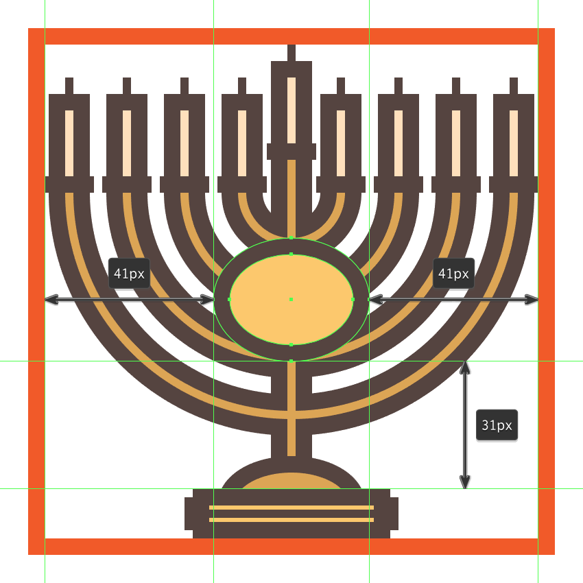creating and positioning the main shapes for the menorahs front decorative plate