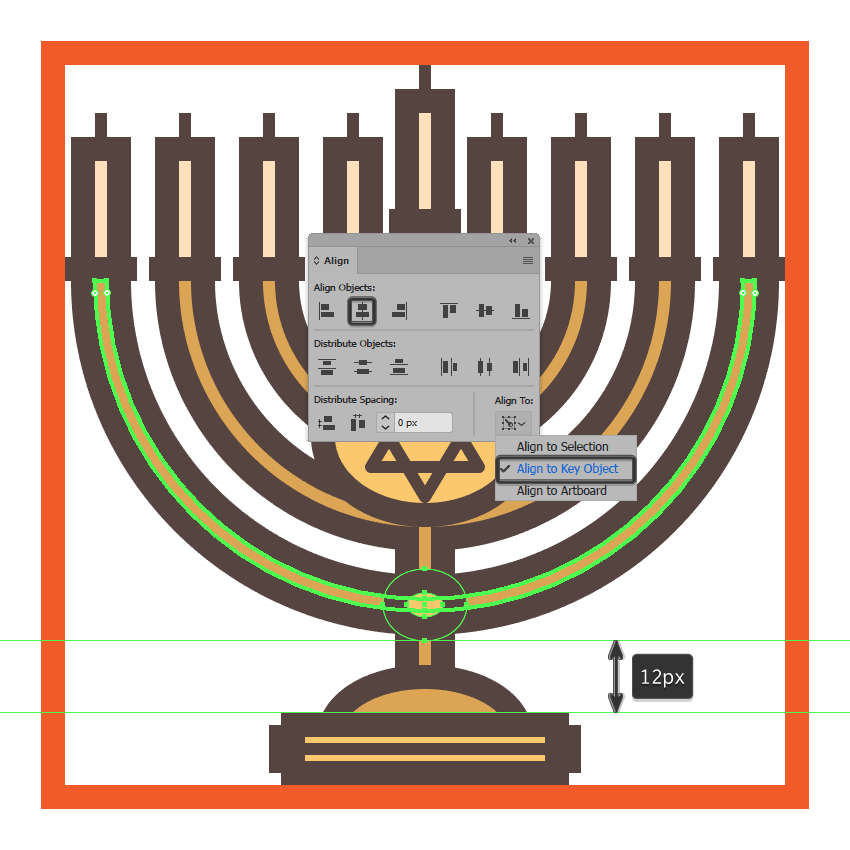 creating and positioning the main shapes for the menorahs secondary decorative plate