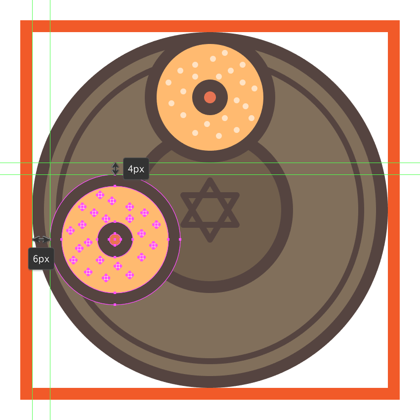 creating and positioning the second sufganiyah