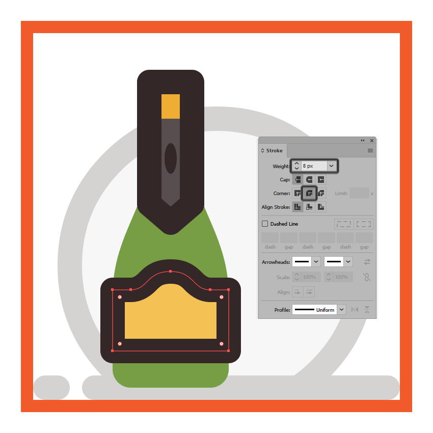 adding the main outline to the champagne bottles front facing label