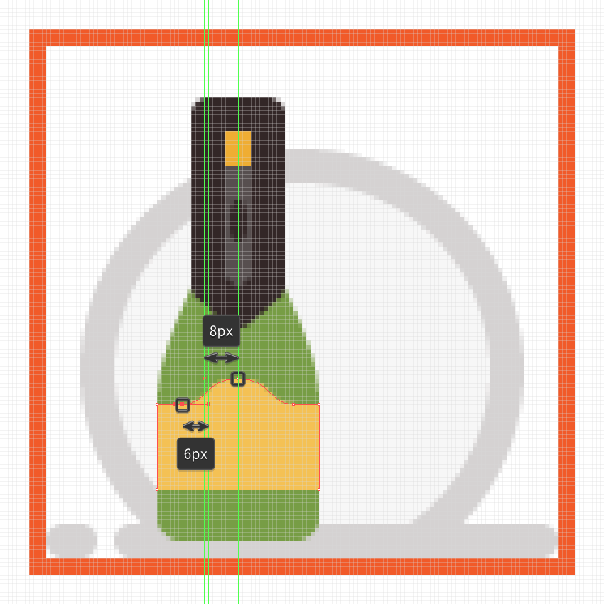 adjusting the curvature of the champagne bottles front facing label