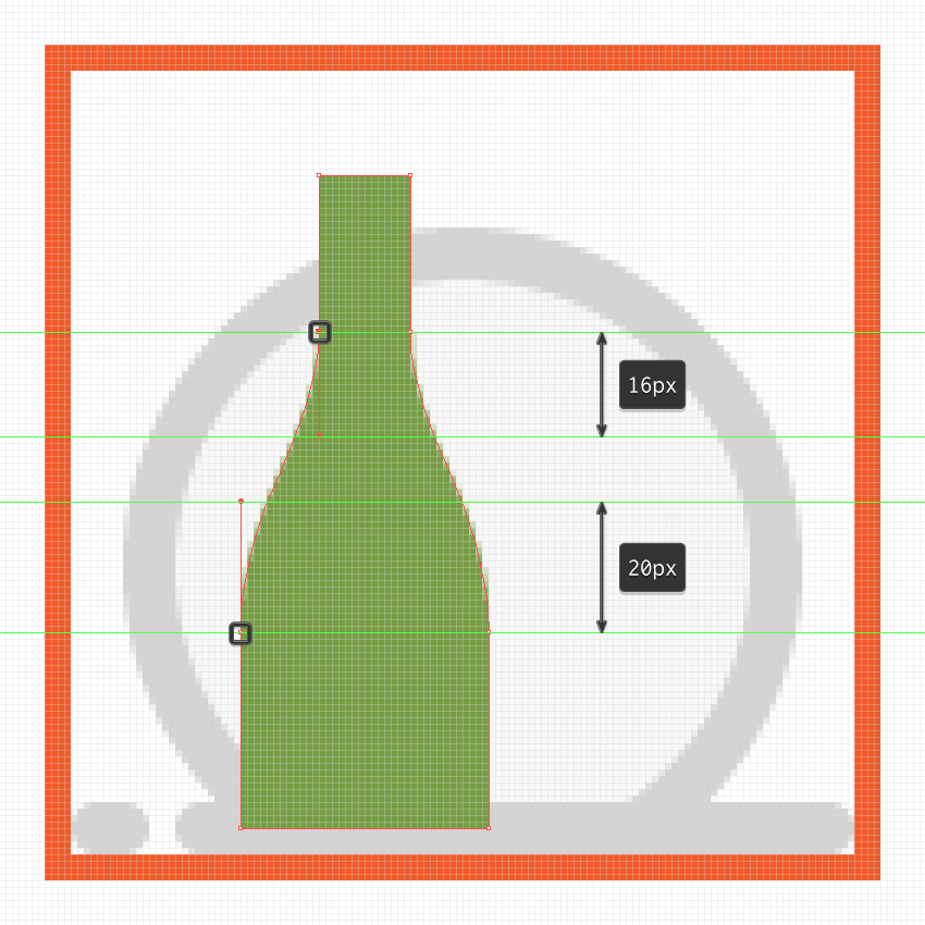 adjusting the curvature transition of the champagne bottles neck