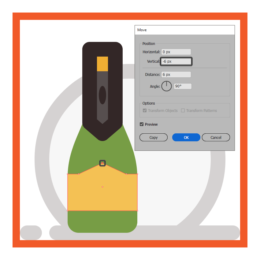 adjusting the shape of the champagne bottles front facing label