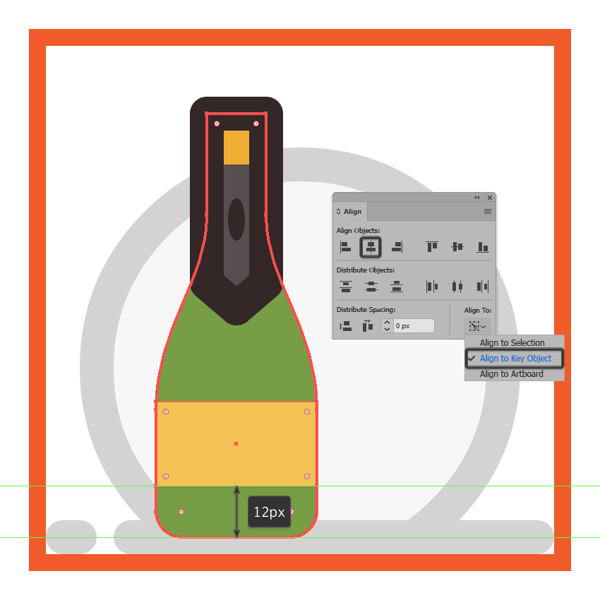 creating and positioning the main shape for the champagne bottles front facing label