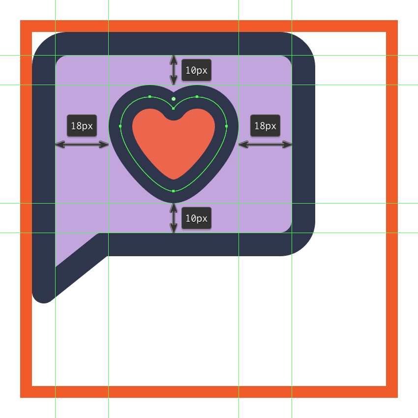 adding the little heart to the center of the left text boxs body