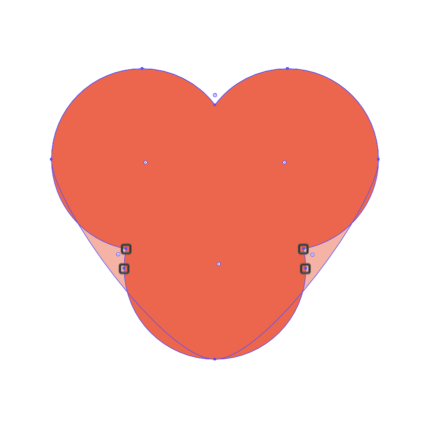 adjusting the hearts shape by removing its center anchor points