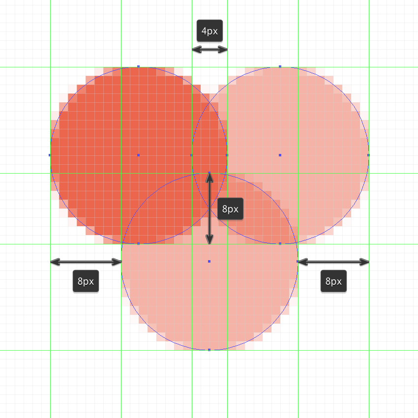 creating and positioning the hearts main shapes