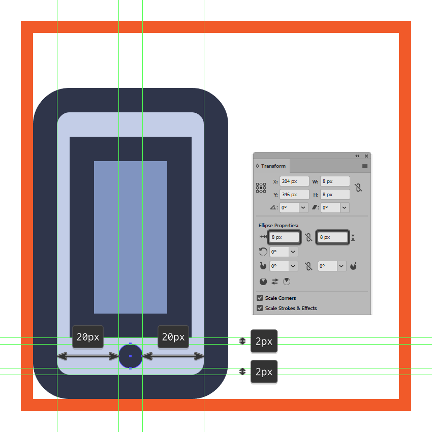 creating and positioning the main shape for the left phones circular bottom button