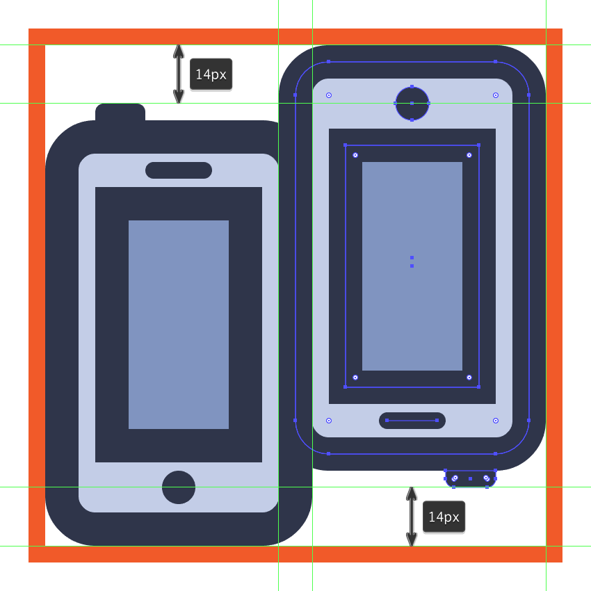 creating and positioning the phone sharing icons second phone