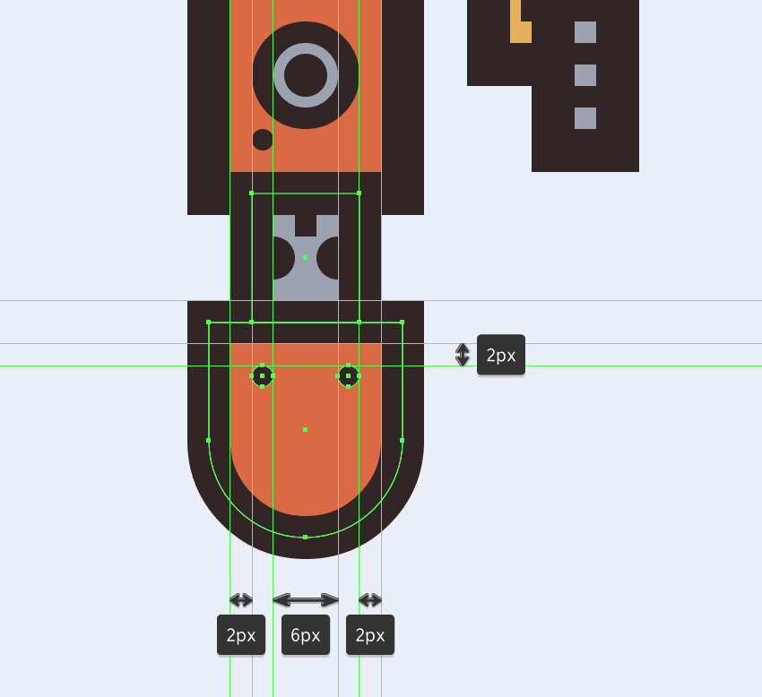 adding details to the bottom section of the electric saws body