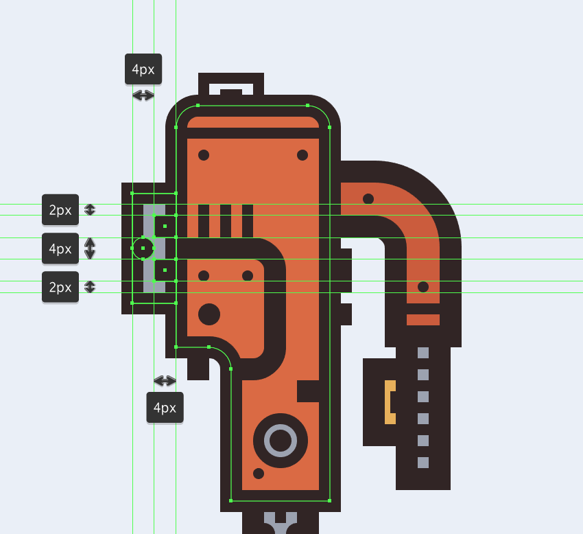 adding details to the little section connecting the electric saws body to its shoe