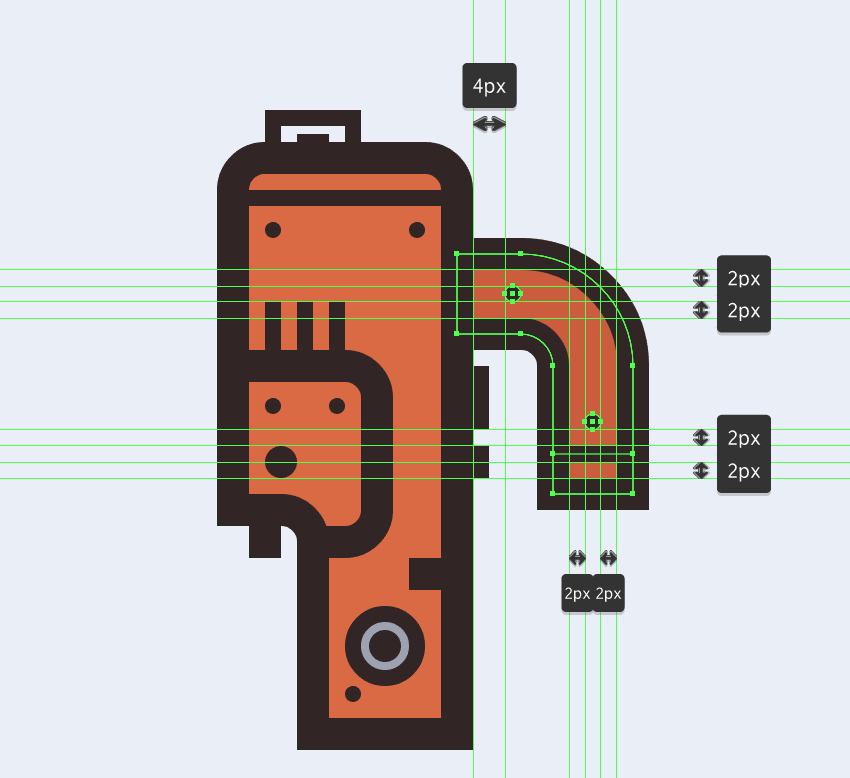 adding details to the upper section of the electric saws handle