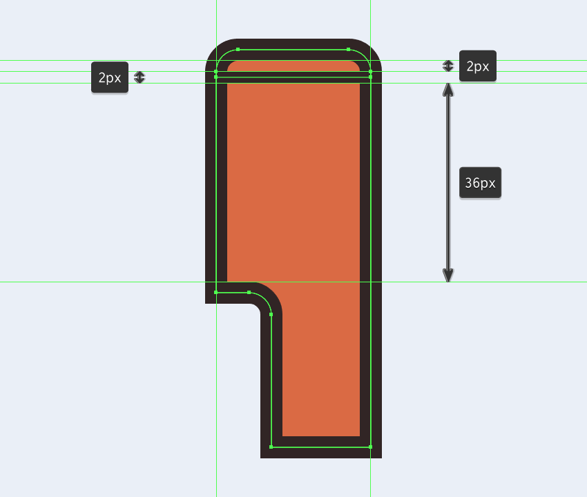 adding the horizontal detail line to the upper section of the electric saws main body