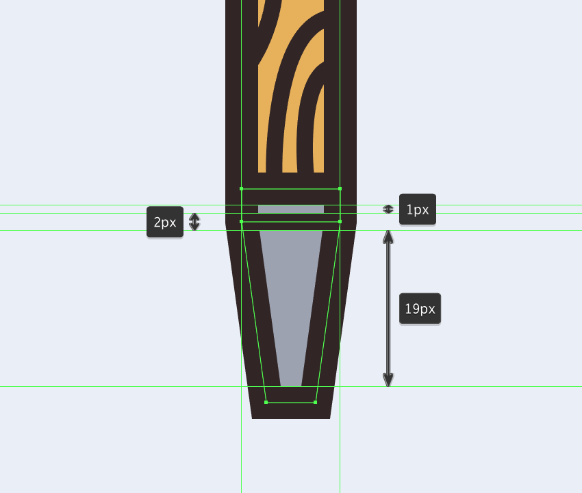 adding the horizontal detail line to the upper section of the narrower chisels metal body