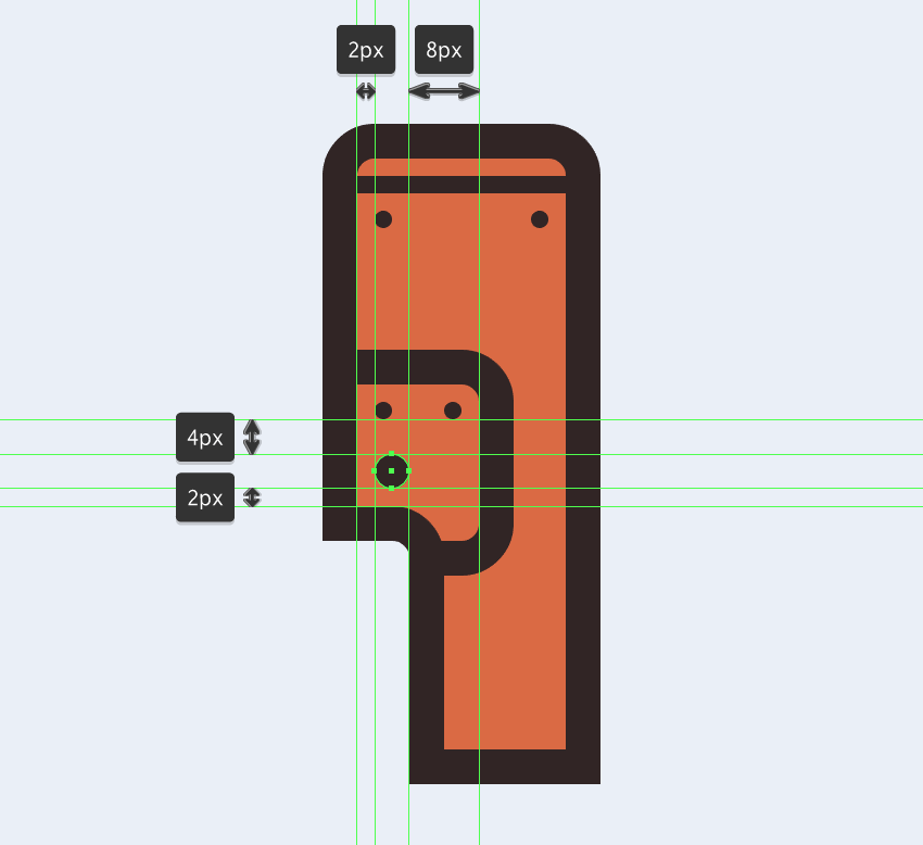 adding the larger circle to the electric saws side section