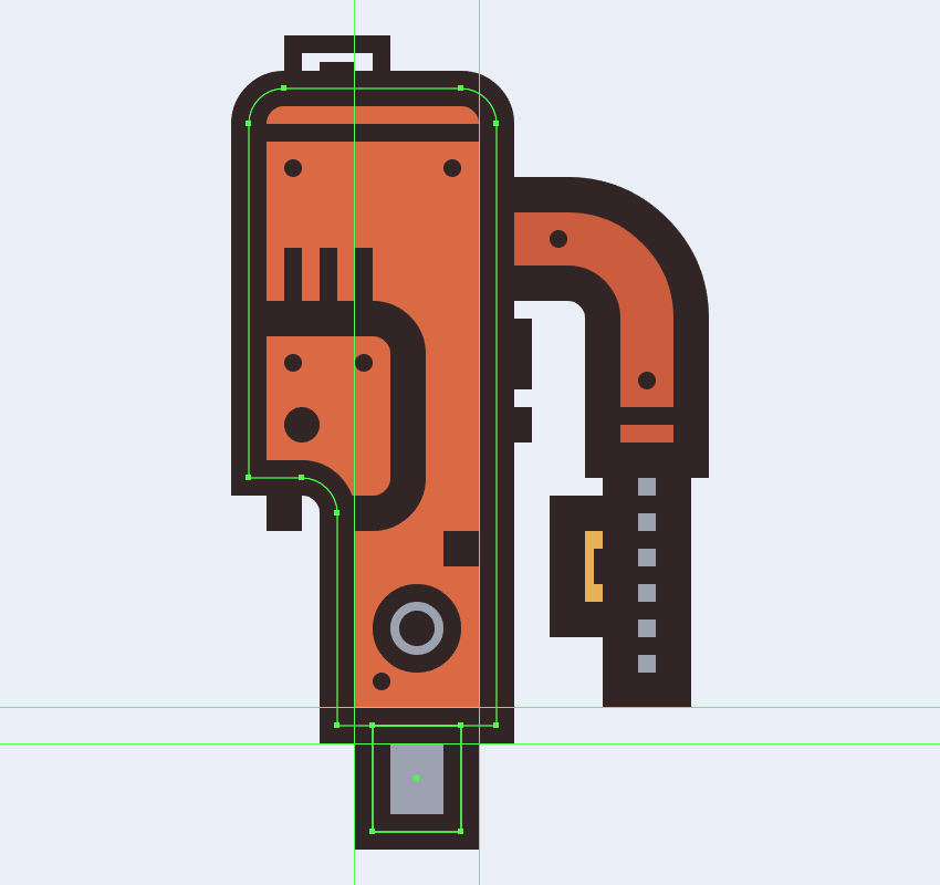 adding the little section connecting the electric saws upper body to its rear end