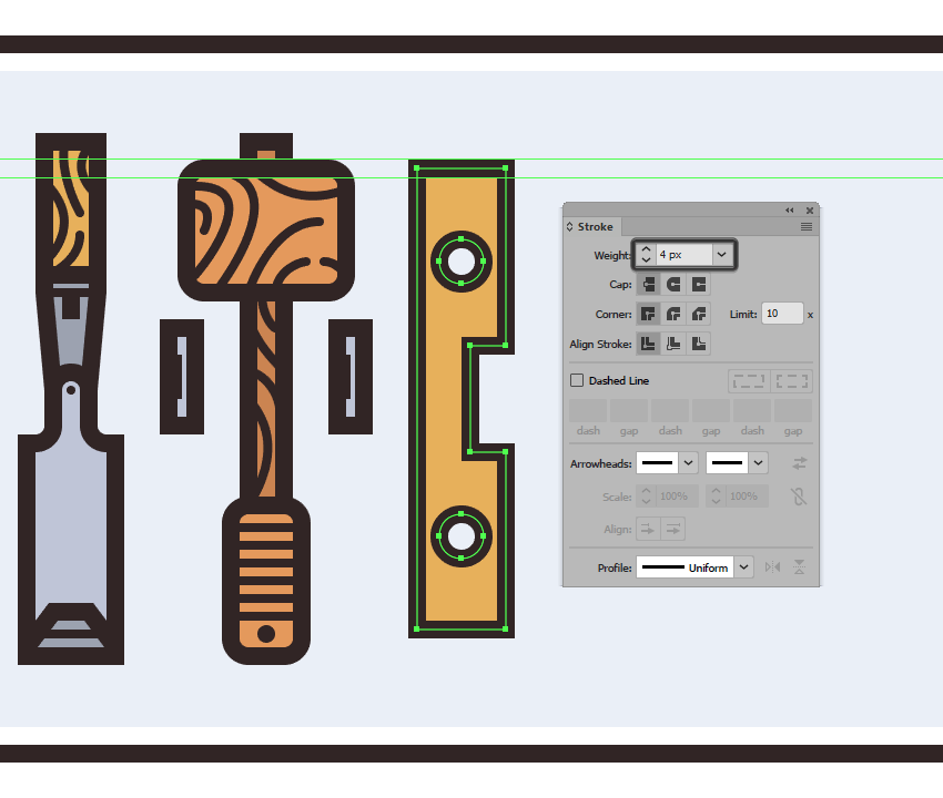 adding the outline to the levels main body
