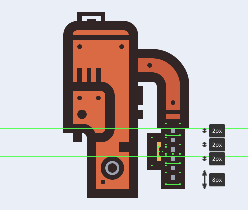 adding the rectangular button to the electric saws handle