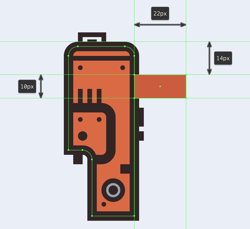 creating and positioning the main shape for the horizontal section of the electric saws handle