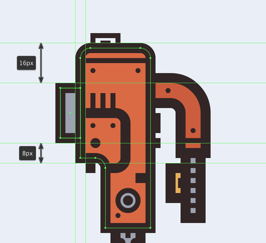 creating and positioning the main shapes for the little section connecting the electric saws body to its shoe